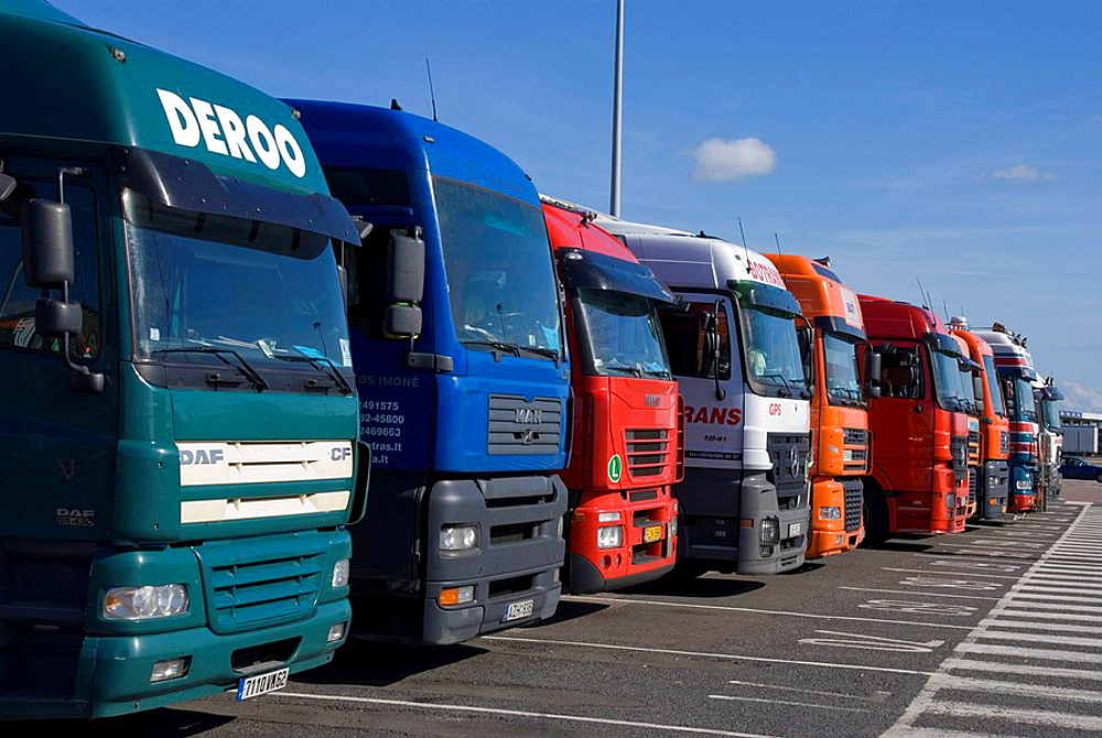 Trucks waiting to board ferry to france port, Dover, England, UK.