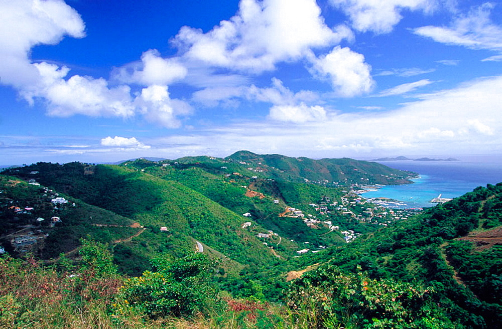 Road Town and harbor from above, Tortola Island, British Virgin Islands