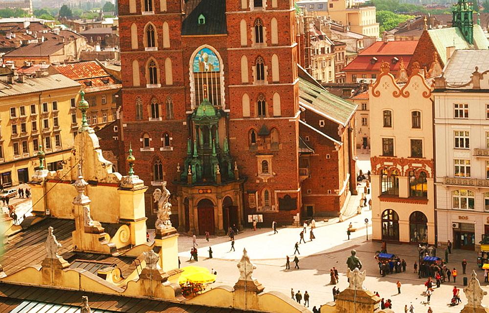View fromTown Hall tower, Rynek Glowny, Krakow, Poland