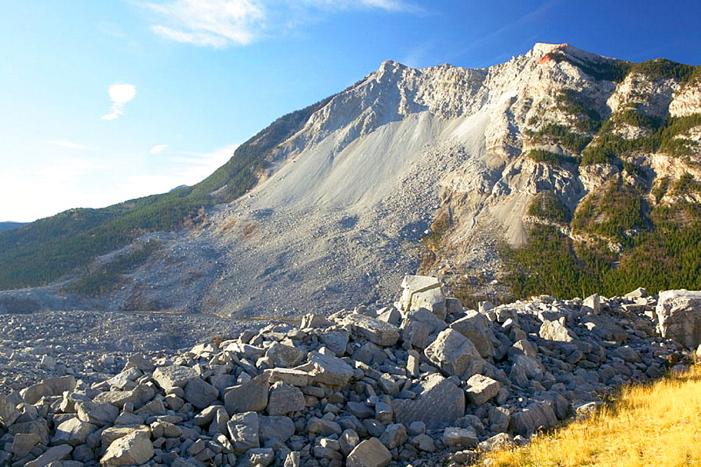 View of the 1903 Frank Landslide, Frank, Crowsnest Pass area, Alberta, Canada