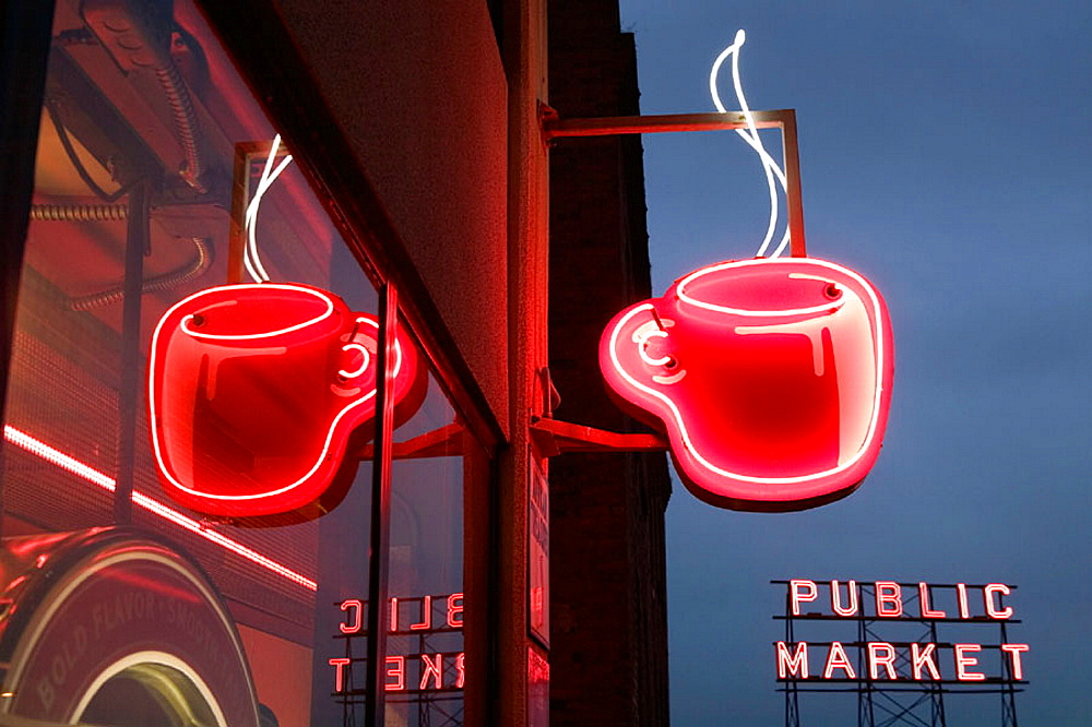Neon coffee cup sign at evening, Pike Place Market, Seattle, Washington, USA