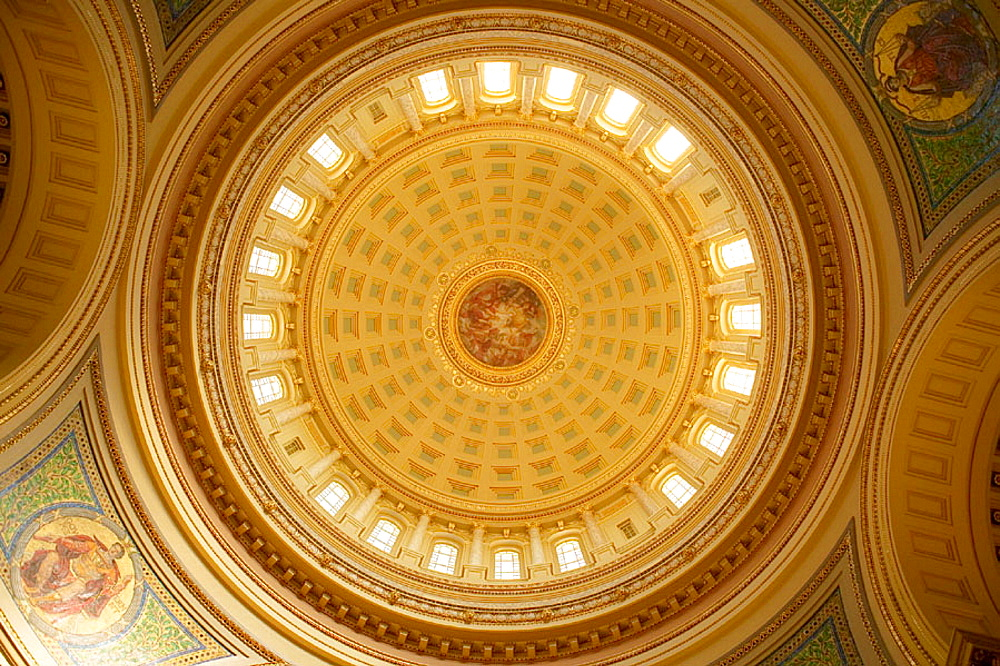 Interior of dome detail, Wisconsin State Capitol Building, Madison, Wisconsin, USA