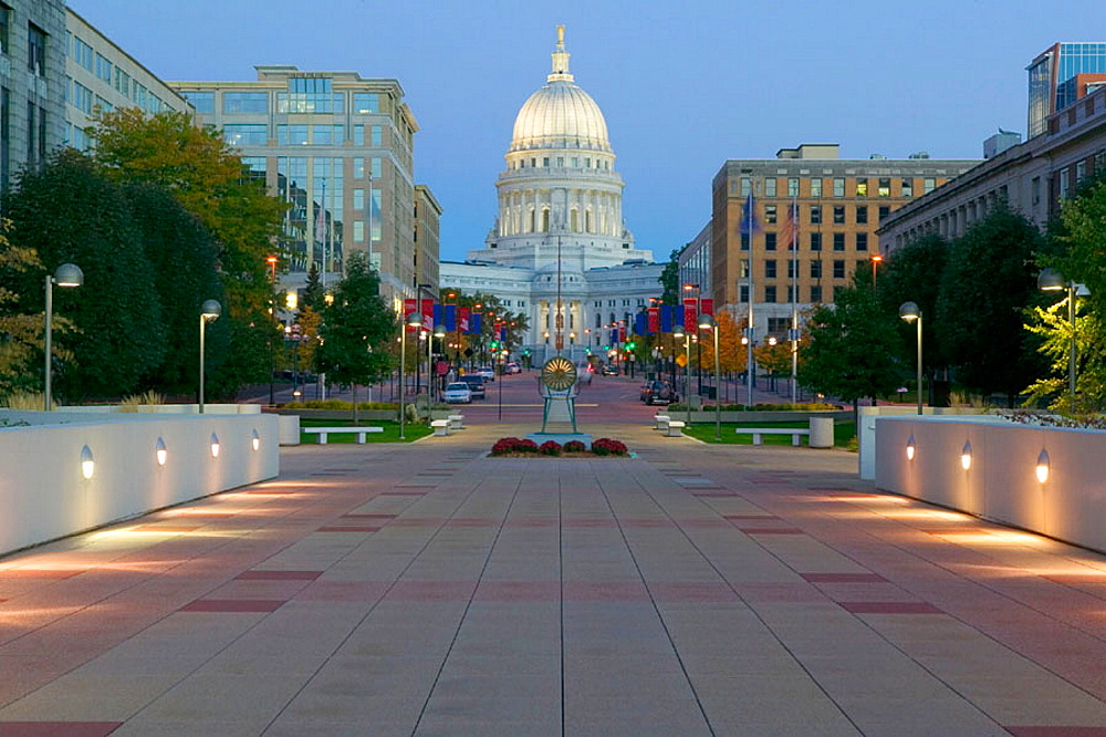 Wisconsin State Capitol Building, exterior in early morning from Monona Terrace, Madison, Wisconsin, USA