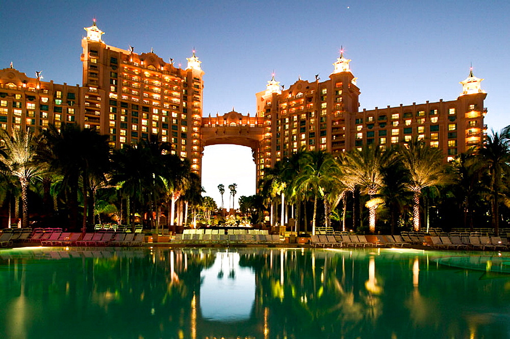 Bahamas, New Providence Island, Nassau: Atlantis Resort and Casino, Paradise Island, Evening View from Poolside