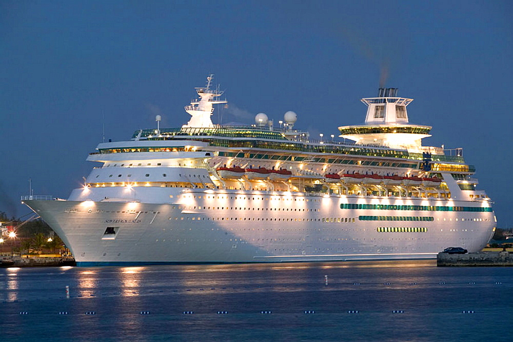 Bahamas, New Providence Island, Nassau: Port of Nassau, Cruise Ship, Evening