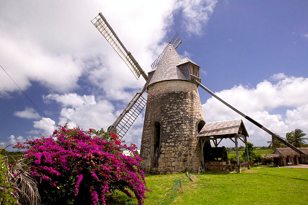French West Indies (FWI), Guadeloupe, Marie-Galante Island, Bezard: Moulin Bezard- Still working windmill built in 1814