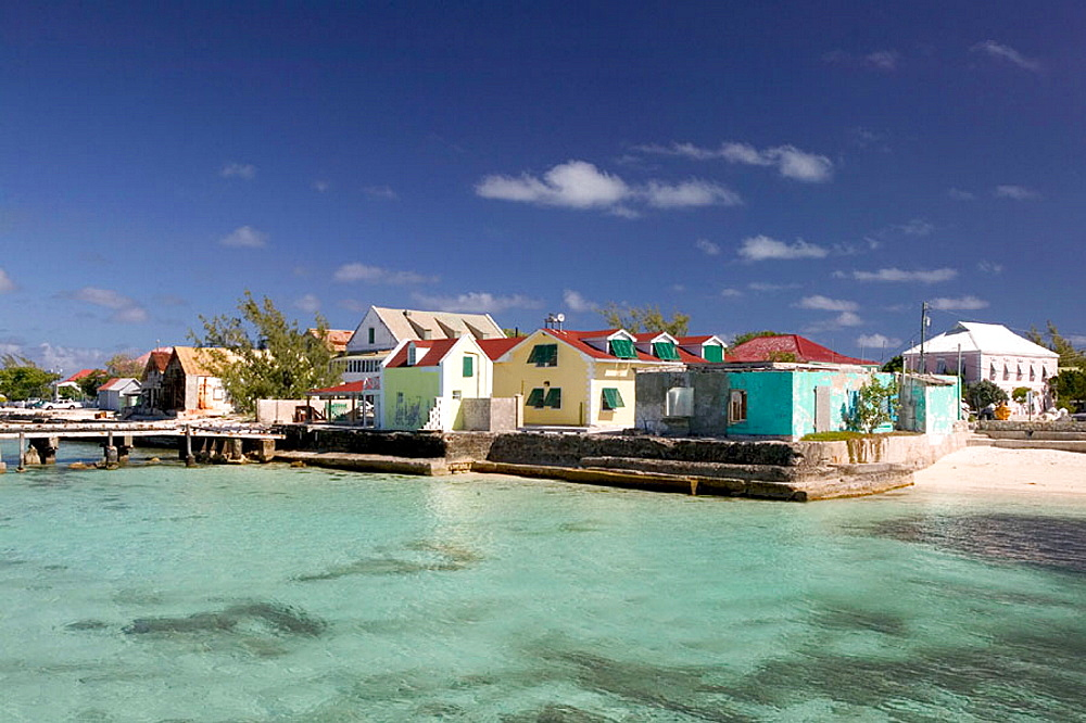 Turks & Caicos, Grand Turk Island, Cockburn Town: Front Street Buildings & Turquoise Water