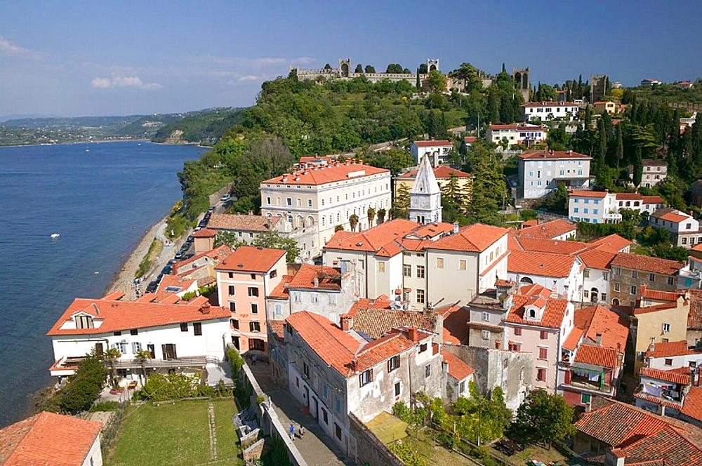Town & Town Walls Viewed from Church of St, George Tower, Piran, Primorska, Slovenia.