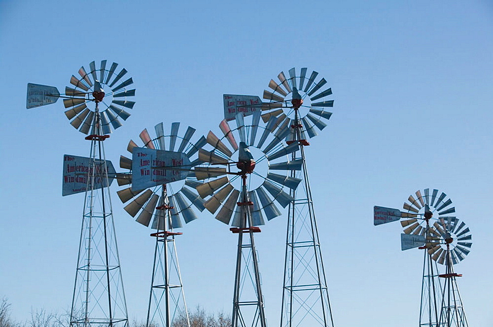 Historic Windmills, American Wind Power Center, Lubbock, Texas, USA.