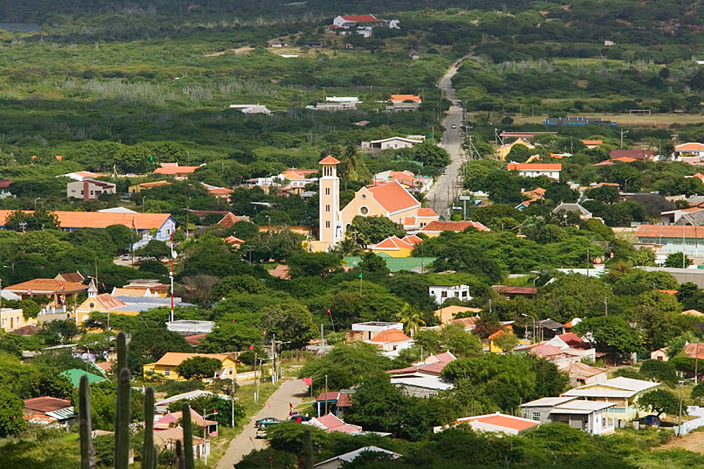 High Vantage View of Rincon Town, Bonaire, Netherlands Antilles.