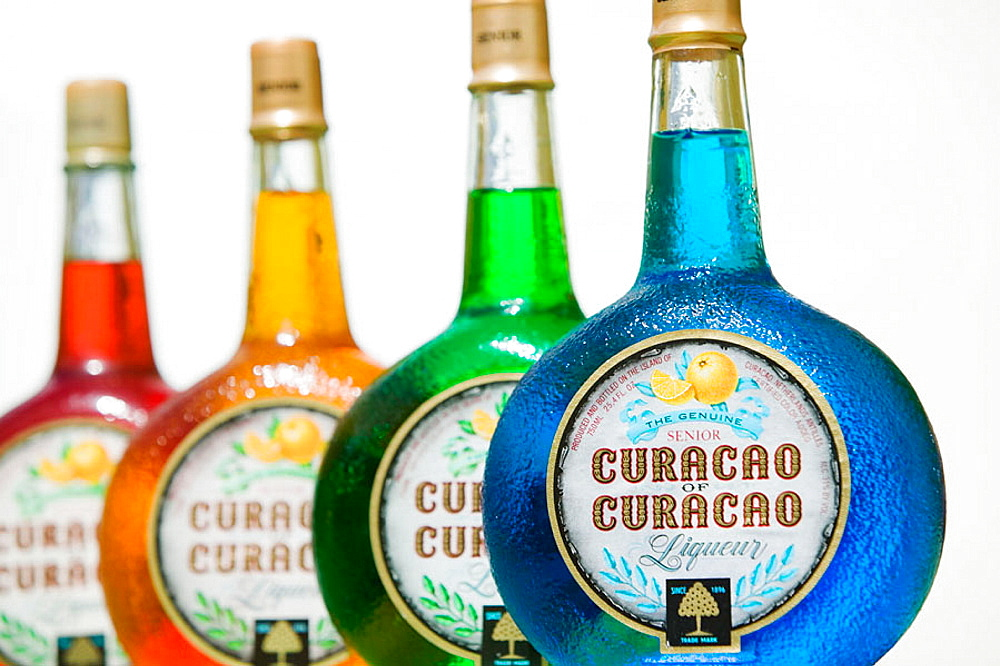 Landhuis Chobolobo-Factory for Curacao Liqueur, Bottles of Curacao Liqueur, made from the oil of Curacao Golden Oranges, Willemstad, Curacao, Netherlands Antilles.