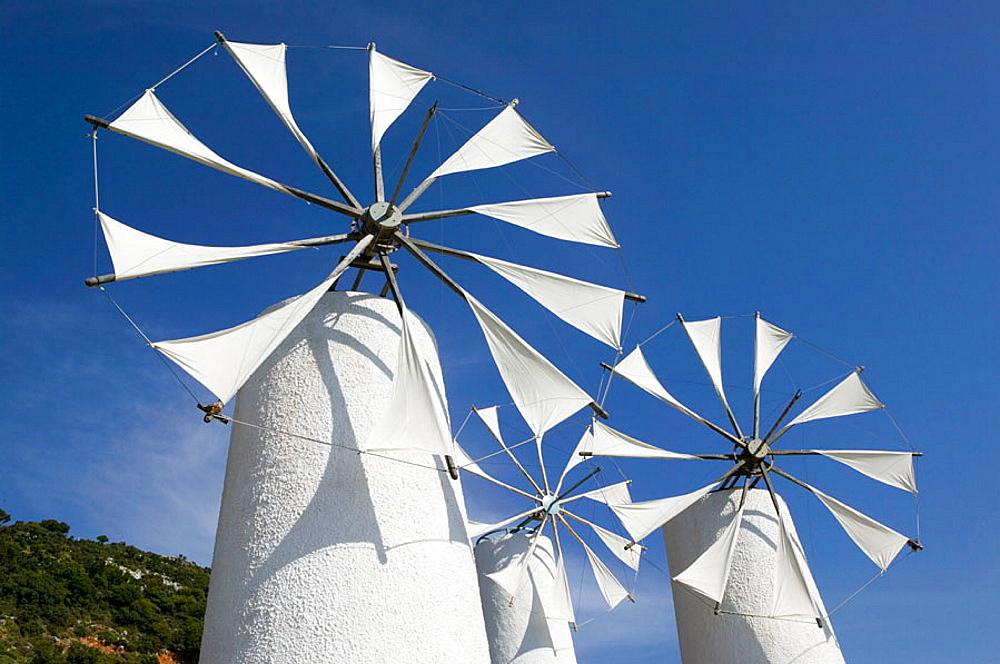 Traditional cretan windmills, Ano Kera, Iraklio Province, Crete, Greece.