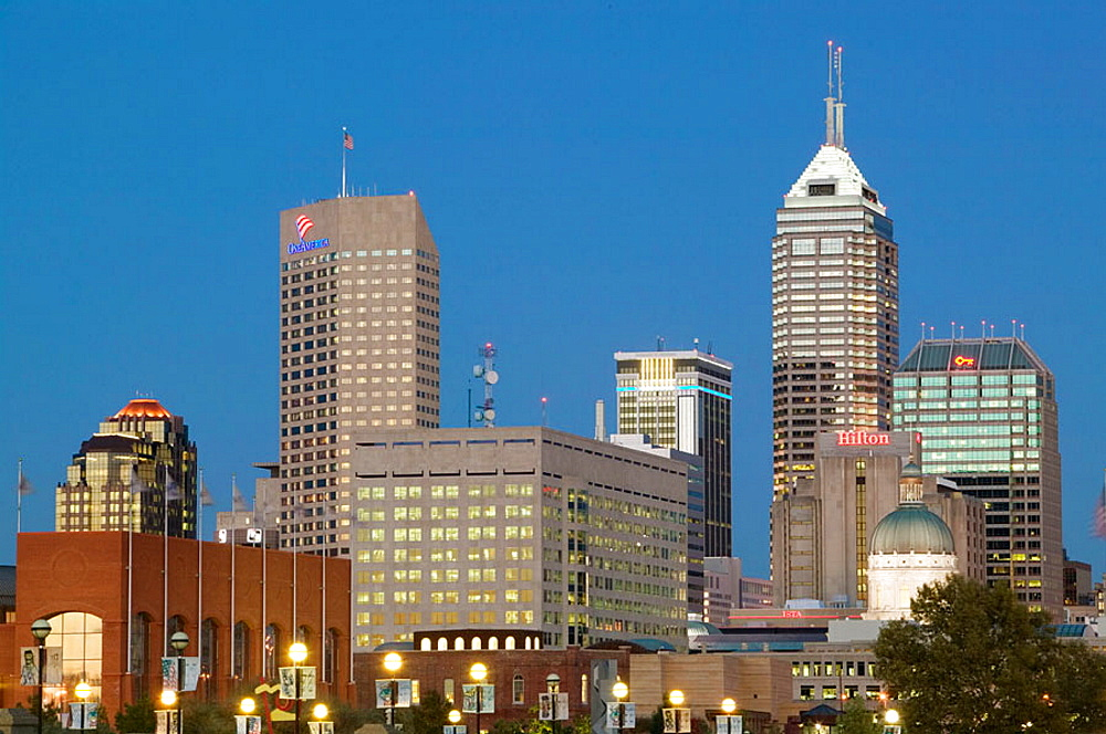 City Skyline from White River Park, Evening, Indianapolis, Indiana, USA.