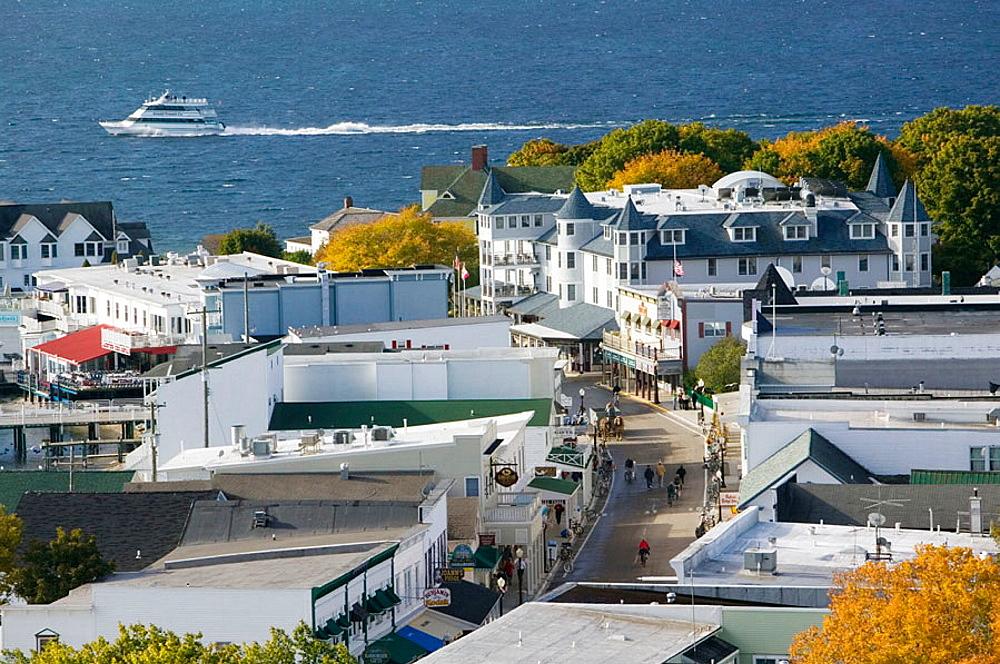 Harborfront View from Fort Mackinac, Mackinaw Island, Straits of Mackinac, Michigan, USA