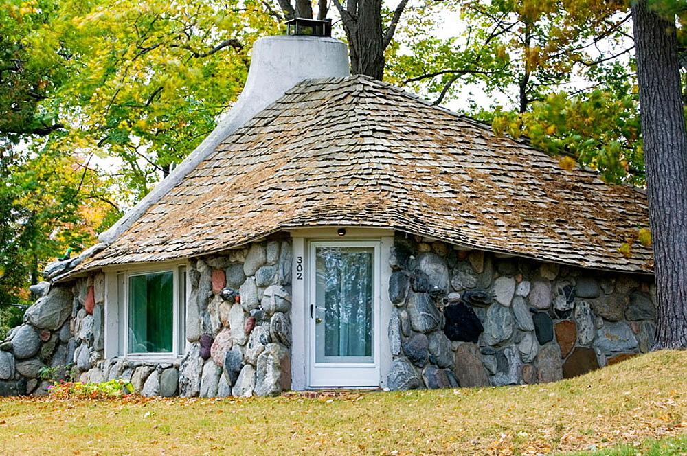 Mushroom stone cottage of the Boulder Park neighborhood, Charlevoix, Lake Michigan Shore, Michigan, USA.