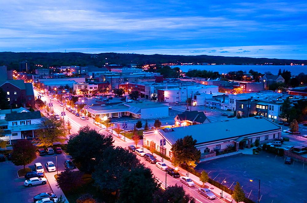 Overhead Evening View of Traverse City, Lake Michigan Shore, Michigan, USA.