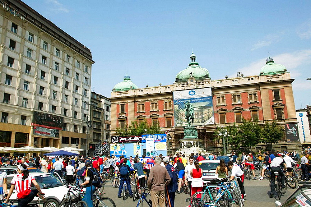 Serbia, Belgrade, Trg Republike Square, Bicycle Festival