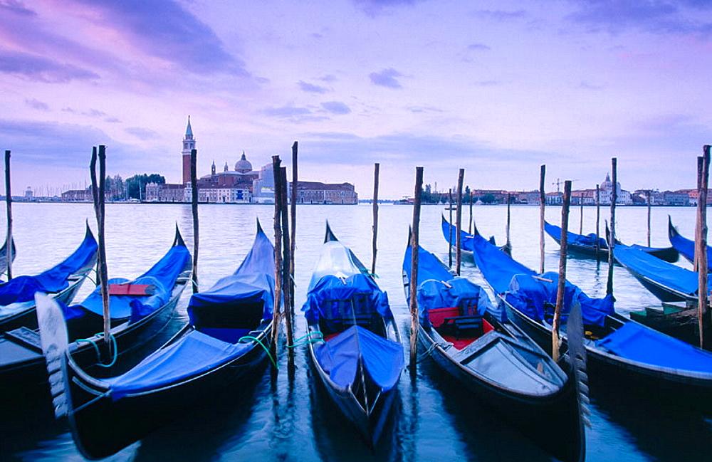 Gondolas and San Giorgio Maggiore in background, Venice, Italy - 817-8198