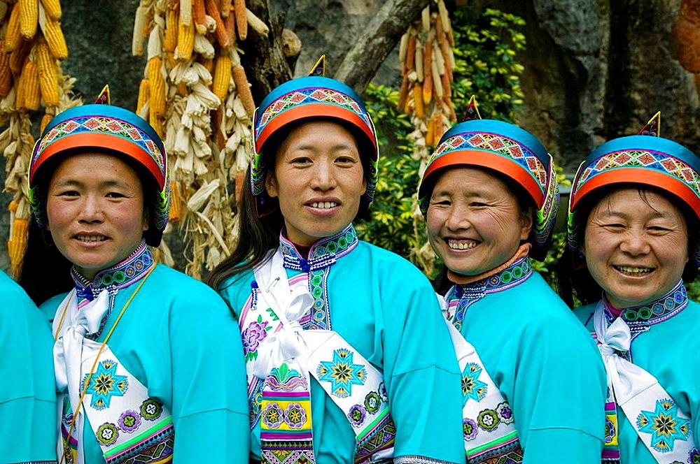 China, Yunnan Province, Kunming Area, Shilin: Shilin Stone Forest, Sani Minority People, Sani Dancers
