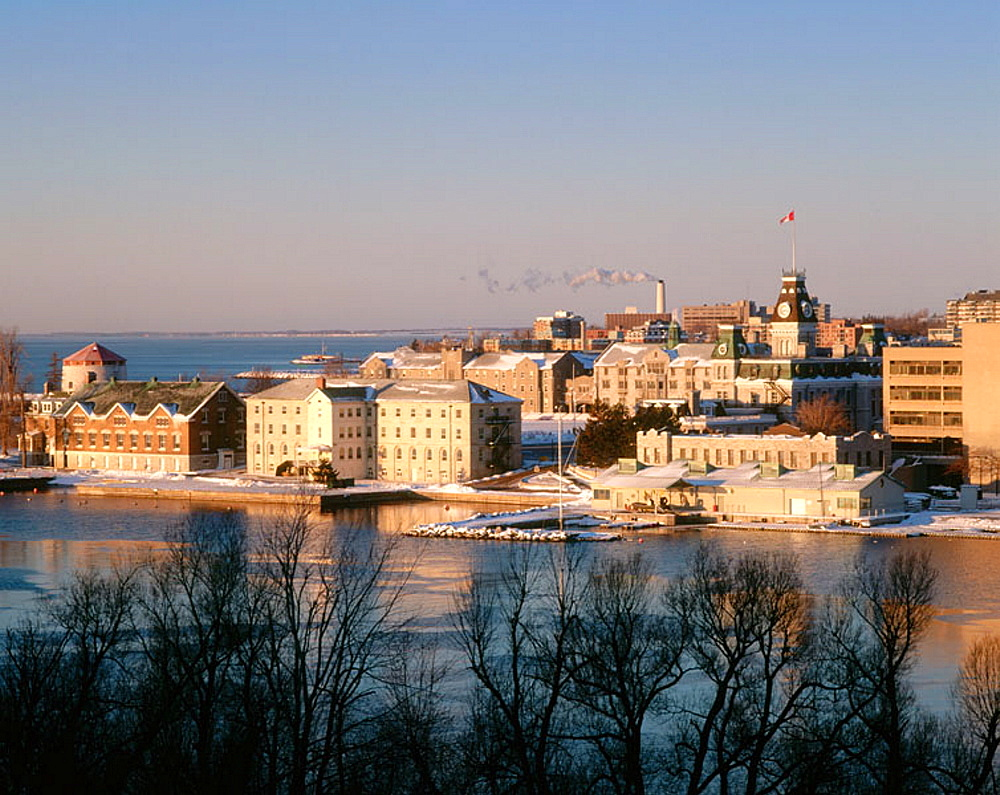Town view and Royal Military College from Fort Henry, sunrise, winter, Kingston, Ontario, Canada