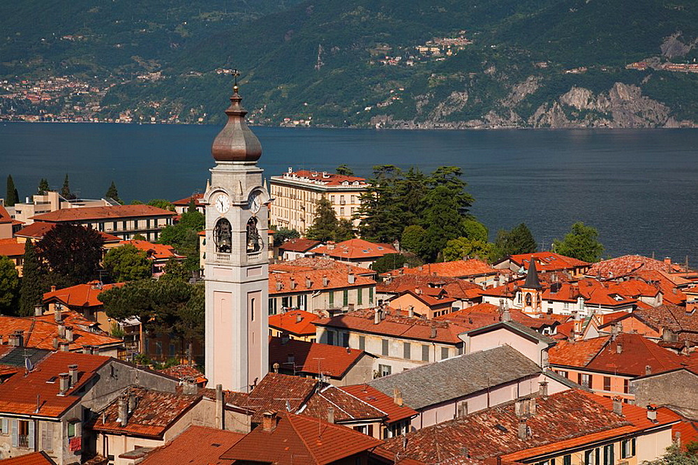 Italy, Lombardy, Lakes Region, Lake Como, Menaggio, town view and Chiesa San Stefano church