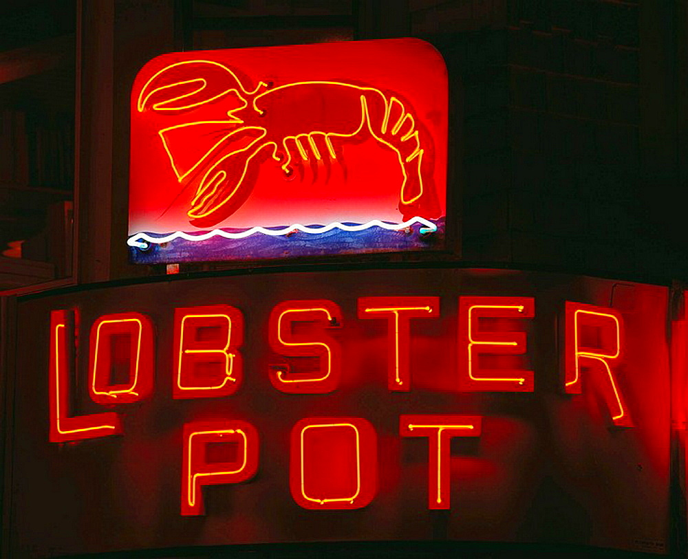 The Lobster Por restaurant sign, Provincetown, Cape Cod, Massachusetts, USA
