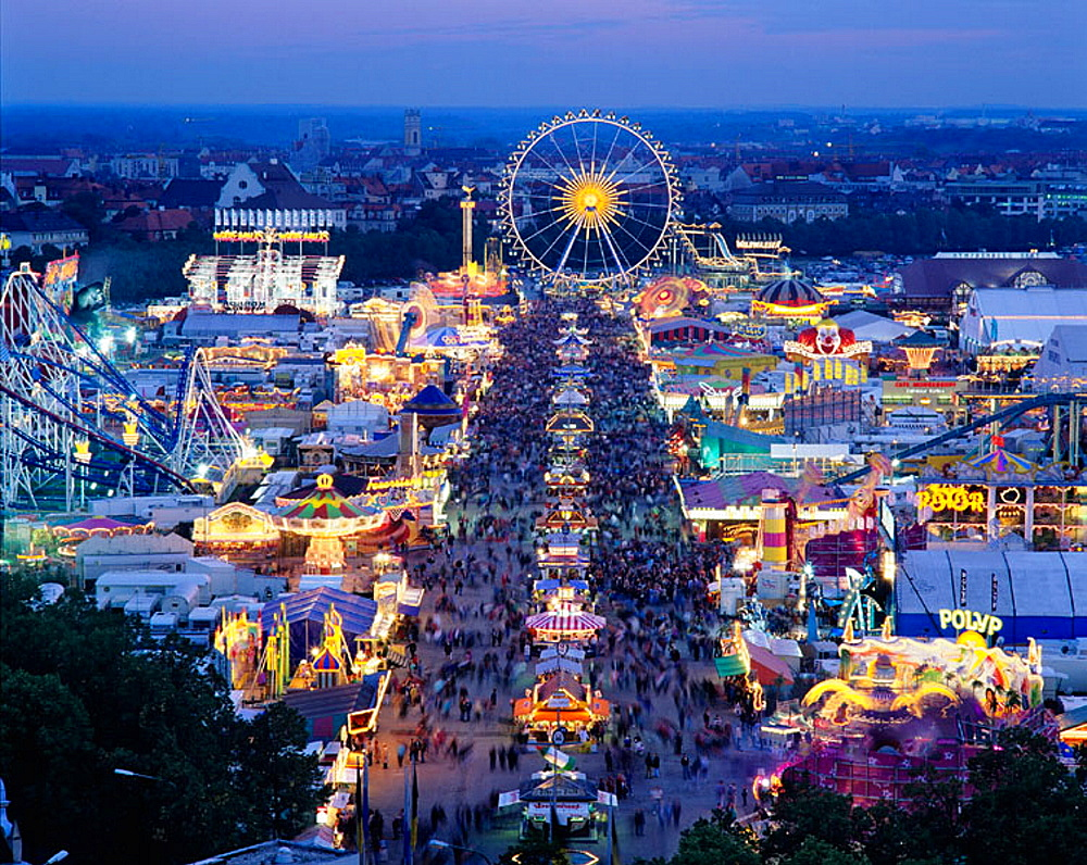 View from St Pauls Church to the Oktoberfest at dawn, Munich, Germany. - 817-87989