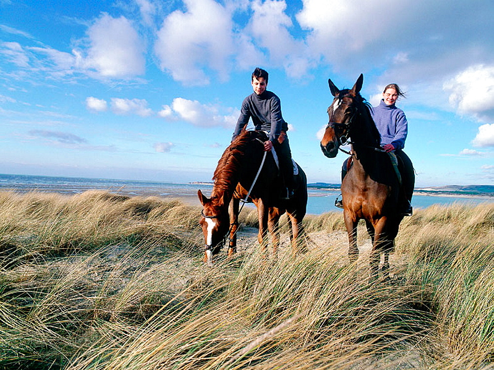 Horse riding on the beach, Le Touquet, Normandy, France
