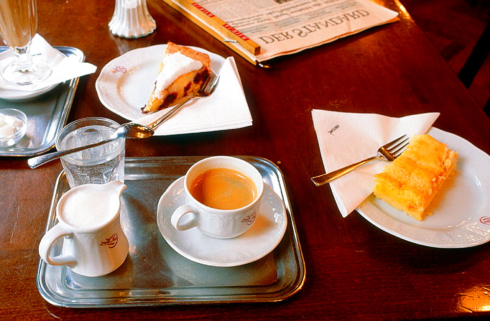 Black coffee and Viennese pastries, Cafe Sperl, Vienna, Austria