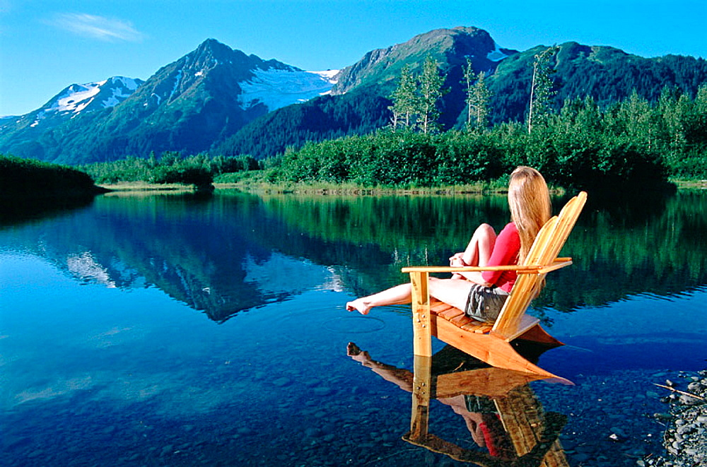 Lifestyles, Adirondack chair, Explorer Glacier, Portage Valley, Chugach Natural Forest, Alaska, USA.