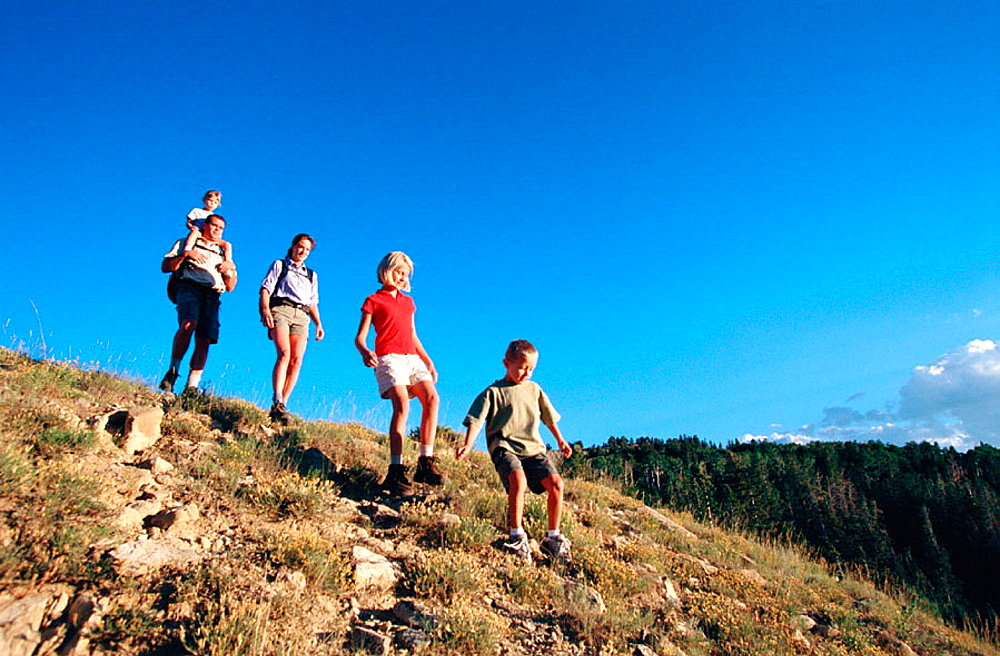 Family hiking, Dixie Natural Forest, Utah, USA.