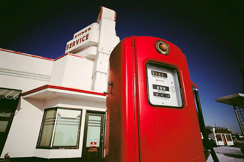Super service abandoned gas station near Calgary, Cochrane, Alberta, Canada