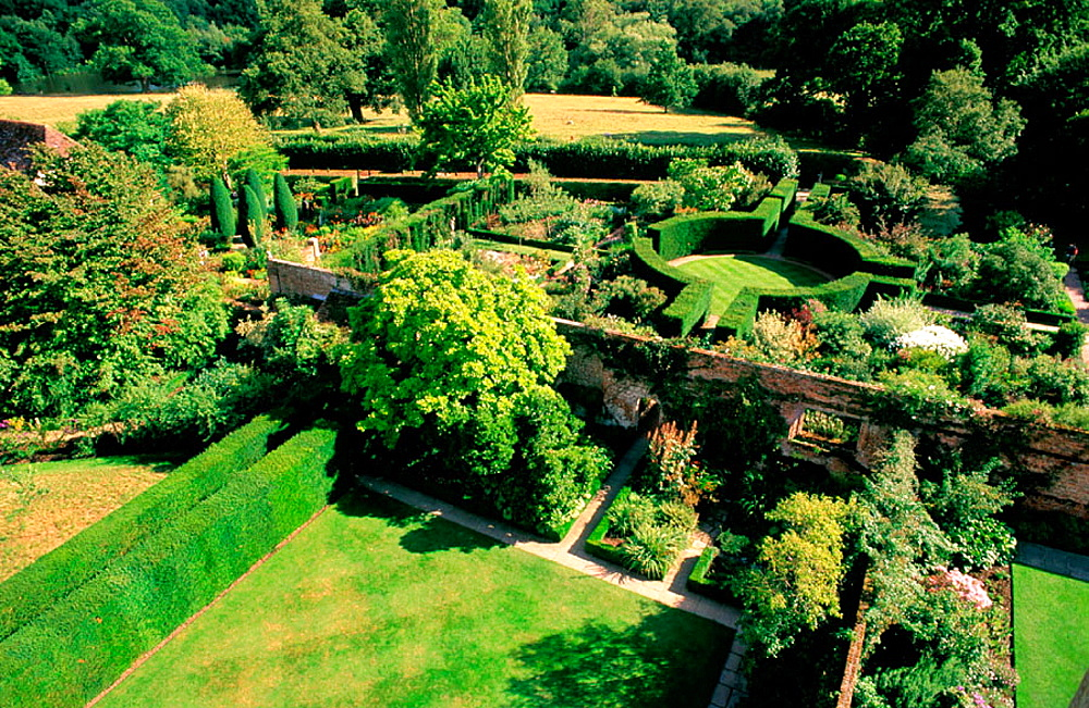 View from above of The White Garden at Sissinghurst Castle, Tunbridge Wells, Kent, UK