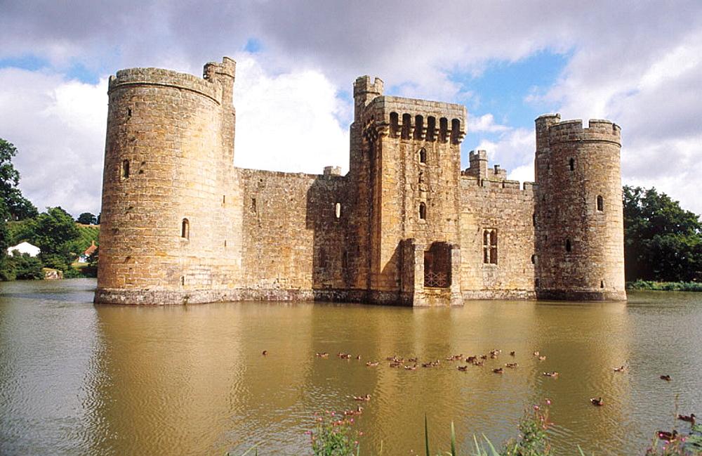 Bodium Castle surrounded by moat, Tunbridge Wells, Kent, UK