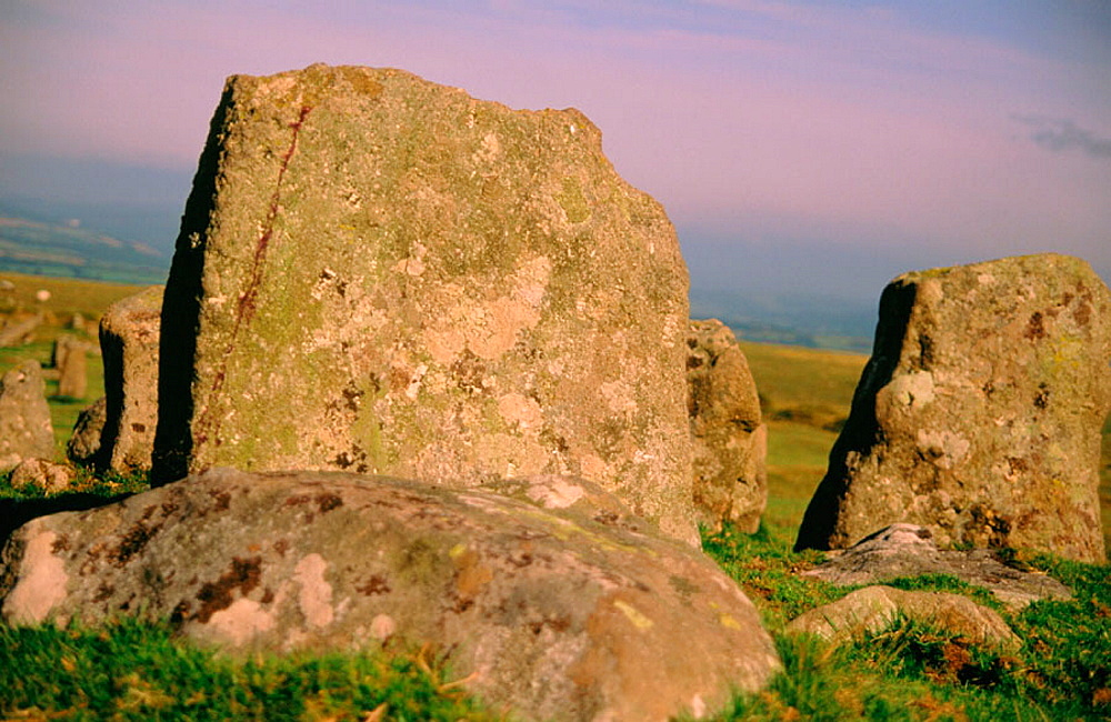 Prehistoric stone monument over grave site, Dartmoor, Devonshire, UK
