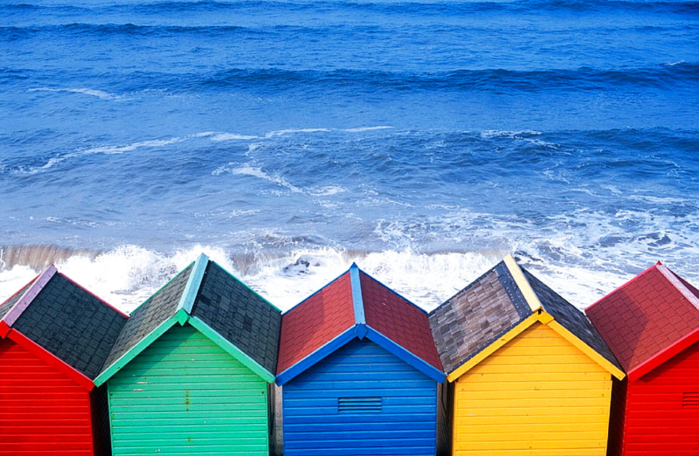 Beach huts in Whitby, North Yorkshire, UK
