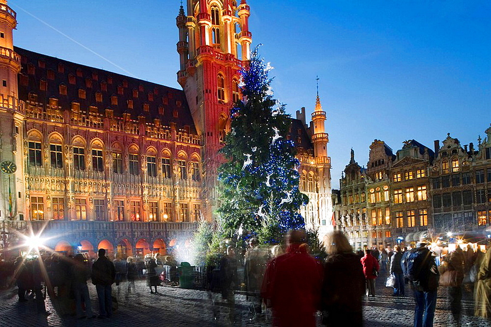 Christmas and light show, Grand Place, Brussels, Belgium