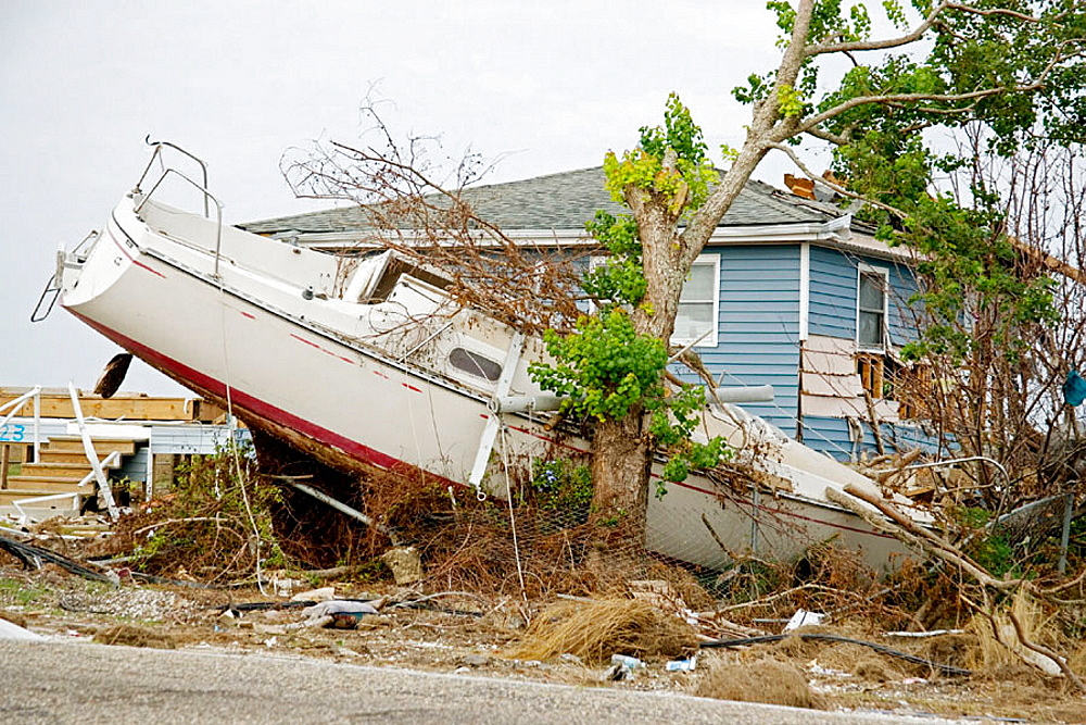 Damage caused by Hurricane Katrina, Slidell, Louisiana, USA.