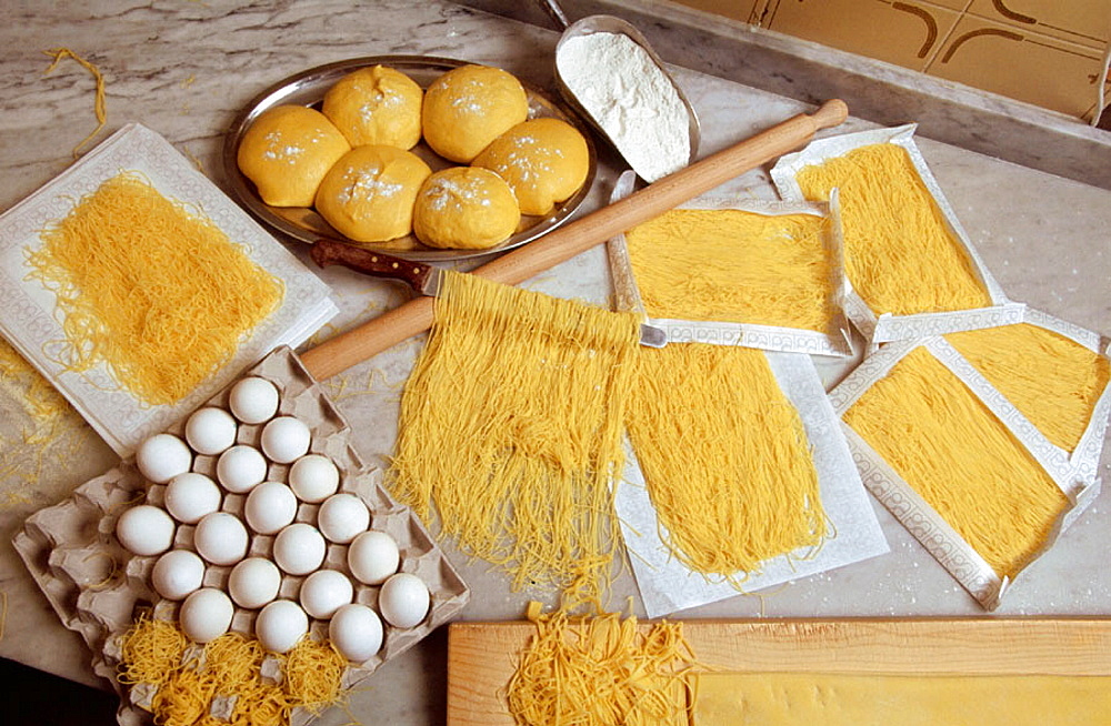 'Spinosini' egg-based pasta from Spinosi family's factory, Campofilone, The Marches, Italy