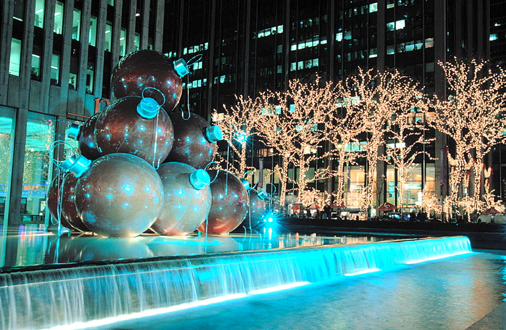 Christmas lights on 6th Avenue, New York City, USA