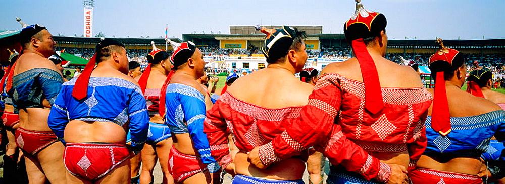 Wrestlers at Naadam Festival, Ulan Bator, Tov province, Mongolia