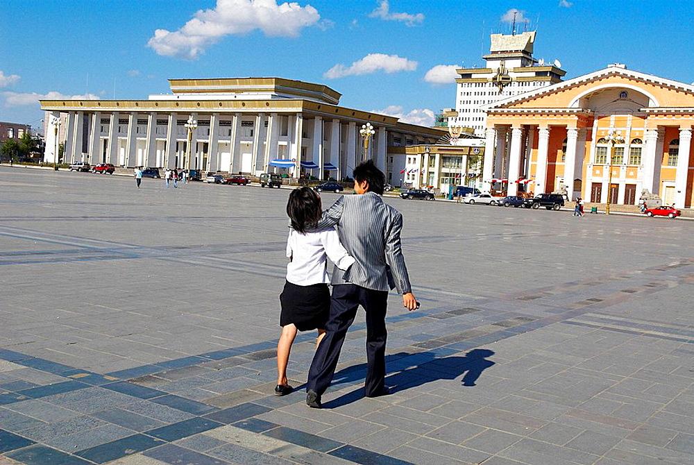 Mongolia, Ulan Bator, Sukhbaatar square.