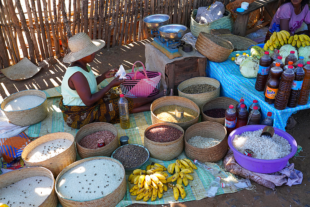 Food stalls in Bekopaka village, Tsingy de Bemaraha National Park, Melaky Region, Western Madagascar