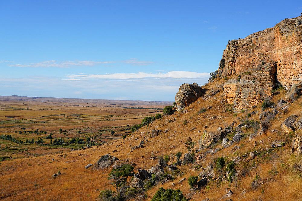 Eroded sandstone rock formations at Isalo National Park, Fianarantsoa province, Ihorombe Region, Southern Madagascar