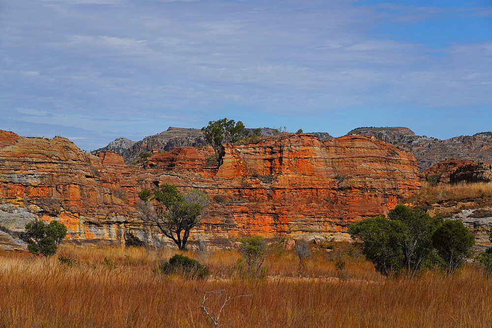 Eroded sandstone rock formations at Isalo National Park, Fianarantsoa province, Ihorombe Region, Southern Madagascar