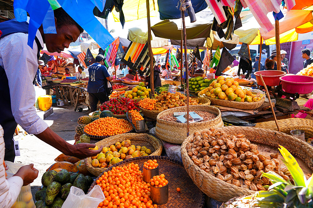 Food market close to Gare Soarano train station, Antananarivo, Madagascar