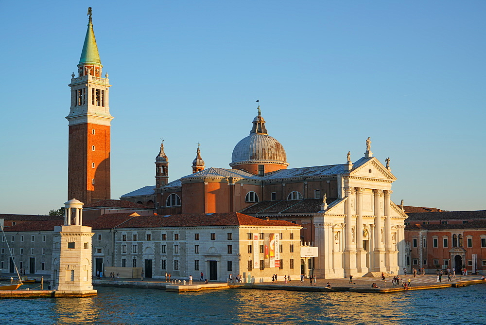 San Giorgio Basilica and island seen from the ferry, Venice lagoon, Venice, Italy, Europe