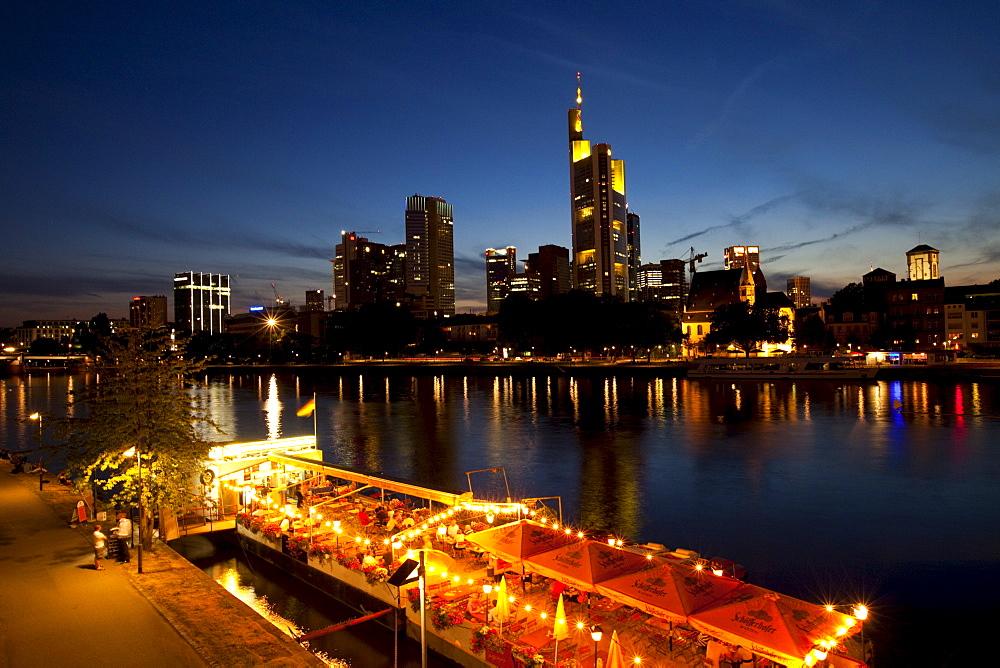 Frankfurt's skyline and the Main river, Frankfurt am Main, Hesse, Germany, Europe