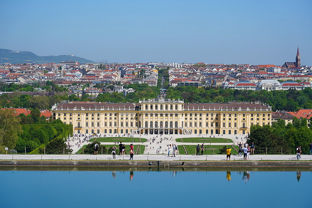 Panorama of Schonbrunn from the Gloriette, UNESCO World Heritage Site, with Vienna in background, Vienna, Austria, Europe