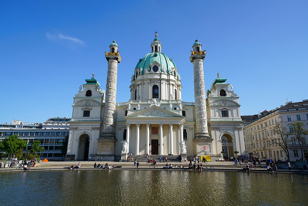 Karlskirche a baroque church located on the south side of Karlsplatz, Vienna, Wien, Austria, Europe